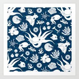 Cephalopods: Background Blue Art Print