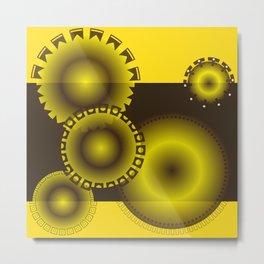 Brown and Yellow Circles Metal Print