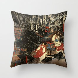 War in 1100's in Japan Throw Pillow