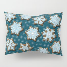 Frosted Gingerbread on Winter Night Sky Pillow Sham