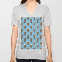 Sad disposable coffee cup pattern on blue Unisex V-Neck