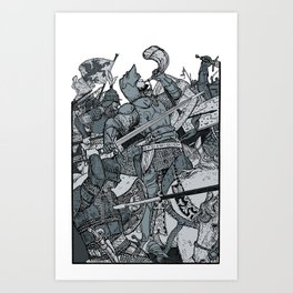Saturday Knight Special STEEL BLUE / Vintage illustration redrawn and repurposed Art Print