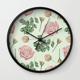 Rose Garden Delight Mint Green + Pink Wall Clock