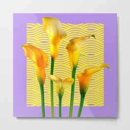 Lilac & Yellow  Calla Lilies Water Pattern Art Metal Print