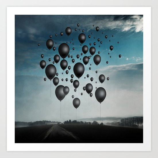In Limbo - black balloons Art Print