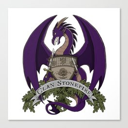 Clan Stonefire Crest - Purple Dragon Canvas Print
