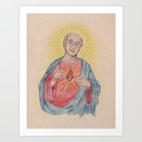 larry david Art Prints featuring Larry David Our Saviour by Laura Francis Design