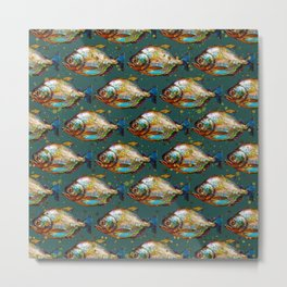 Piranha Army Hand painted Pattern Metal Print
