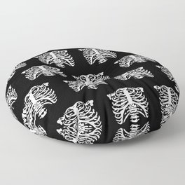 Human Rib Cage Pattern Black and White Floor Pillow
