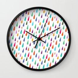 Modern rainbow colors watercolor rain drops pattern Wall Clock