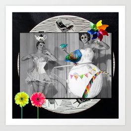 Hooping Homemakers with a blue fish (and other things) Art Print