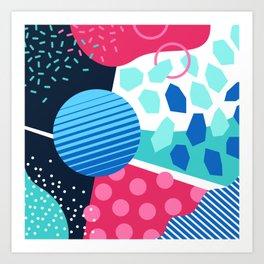 Memphis pastel blue green pink Art Print