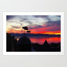 Red Sky over Lake Champlain Art Print