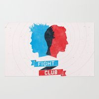 fight Area & Throw Rugs featuring Fight Club by Bill Pyle