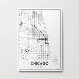 Minimal City Maps - Map Of Chicago, Illinois, United States Metal Print