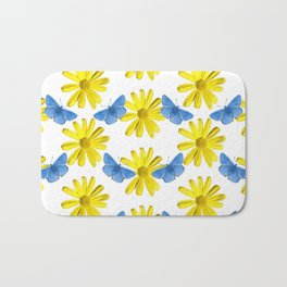 Adonis Blue Butterfly on Yellow Gerbera Bath Mat
