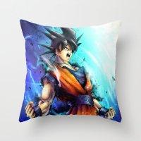 goku Throw Pillows featuring Goku by Vincent Vernacatola