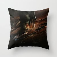 smaug Throw Pillows featuring The Desolation of Smaug by Artechniq