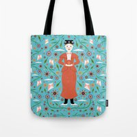 mary poppins Tote Bags featuring Mary Poppins by Carly Watts