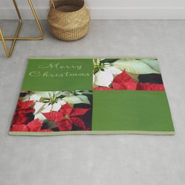 Mixed Color Poinsettias 2 Merry Christmas Q5F1 Rug