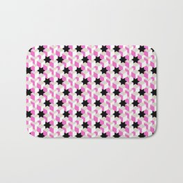 Pink and White Pattern with Grey and Black Stars Bath Mat