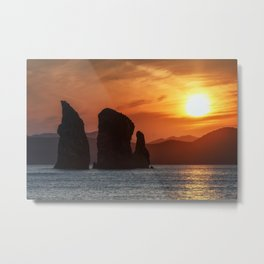 Beautiful seascape - Three Brothers Rocks in Pacific Ocean at sunset Metal Print