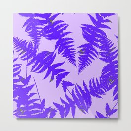 Decorative Grape Purple Ferns Glen on Lilac Color Metal Print
