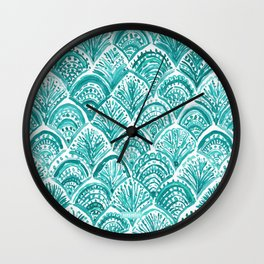 AQUA LIKE A MERMAID Fish Scales Wall Clock