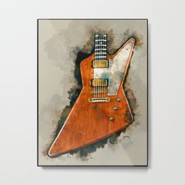 The Edge's electric guitar, guitar wall art, studio decor, music room decor, gift for guitarist Metal Print