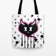 Evil Heart with Devil's Horns, Tail and Skulls Tote Bag