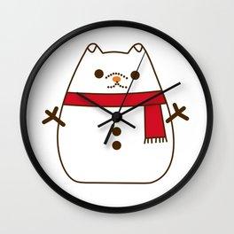 Cute Christmas Snowman Pupsheen Wall Clock
