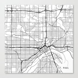 St Paul Map, USA - Black and White Canvas Print