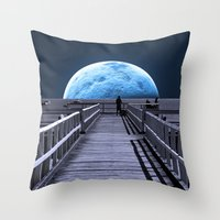 monika strigel Throw Pillows featuring Once in a blue moon by Donuts