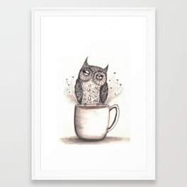 Owl Coffee Time Framed Art Print