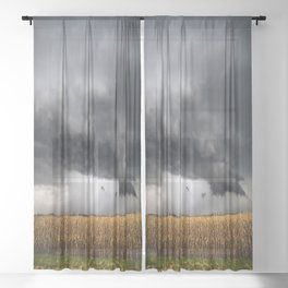 Corn Field - Storm Over Withered Crop in Southern Kansas Sheer Curtain