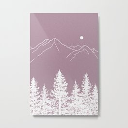 Mountains and Forest at Dusk Metal Print