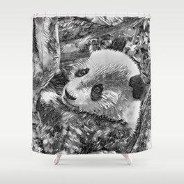 AnimalArtBW_Panda_20180102 Shower Curtain