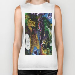 Searching For Gold - Original, abstract, fluid, acrylic painting Biker Tank