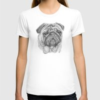 pug T-shirts featuring Pug by Lene Daugaard