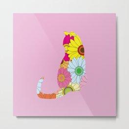 Cute Flower Power Hippie Cat Silhouette Metal Print