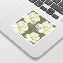 Scripture Gray,White Rose Sticker
