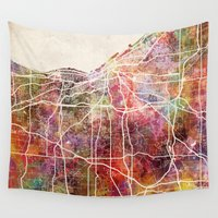 cleveland Wall Tapestries featuring Cleveland by MapMapMaps.Watercolors