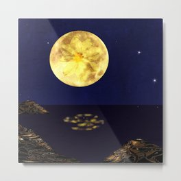 Yellow Dahlia Moon Metal Print
