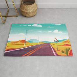 Life is a Highway Kitschy Vintage Retro Watercolor Mid Century Style Rug