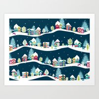 ski Art Prints featuring Apres Ski by Polkip
