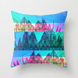 Retro Glitch Mountain Scene Throw Pillow