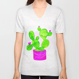 Potted Prickly Pear Unisex V-Neck