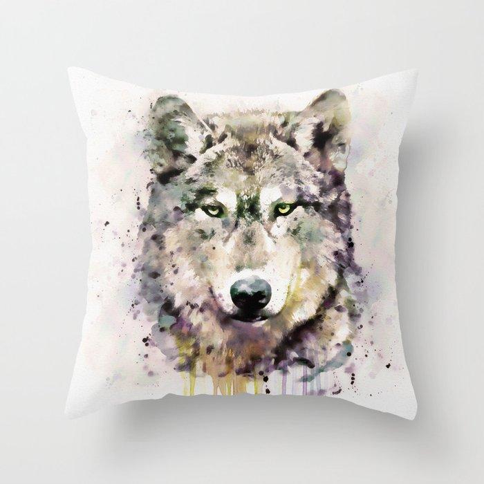 Wolf Head Watercolor Portrait Deko-Kissen