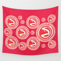 nba Wall Tapestries featuring HAWKS HAND-DRAWING DESIGN by SUNNY Design
