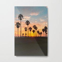 Venice Beach Sunset View People watching skatepark Metal Print